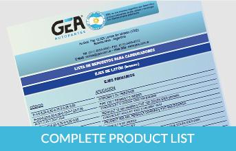 GEA lista completa de productos